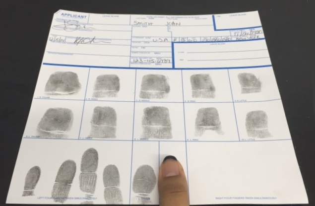 Inked Fingerprint Card